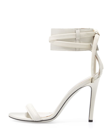 d'Orsay Ankle-Wrap Sandal, Dove Gray