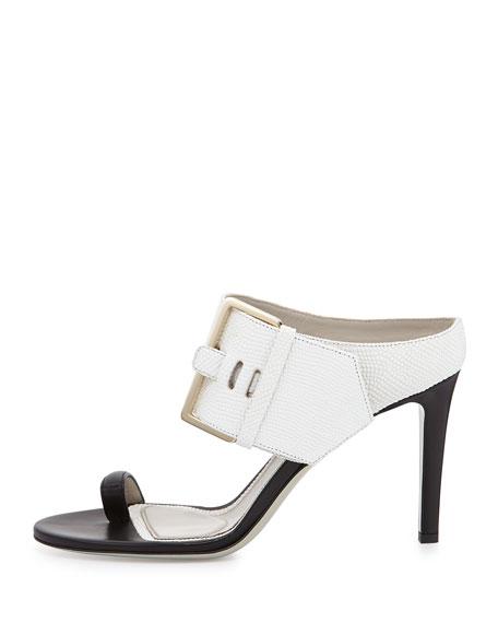 Lizard-Print Buckled Slide Sandal, White