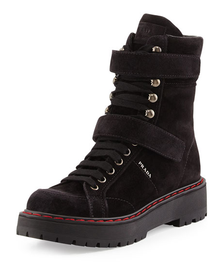 Prada Suede High-Top Hiking Boot, Nero