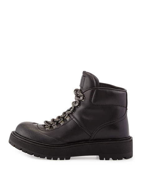Hiking Leather Leather Nero Boot Boot Hiking Nero Prada Prada Prada Hiking Leather Boot waWnx7ST