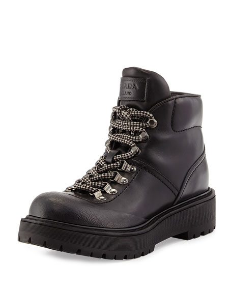 Prada Leather Hiking Boot, Nero
