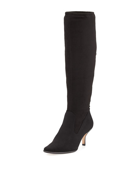 Luca Stretch-Suede Tall Boot, Black