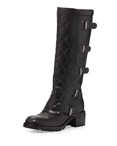 Quilted Multi-Strap Knee Boot, Black
