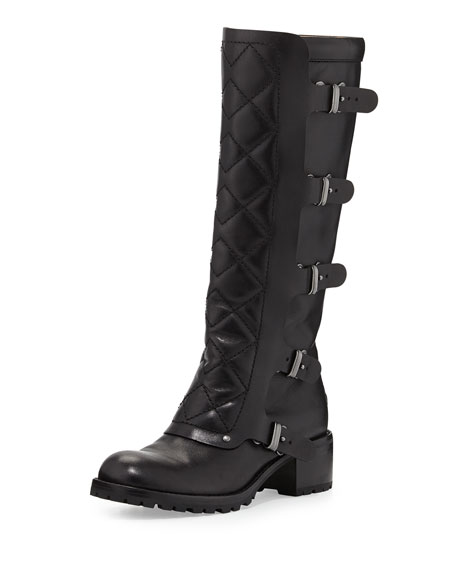 MARC by Marc Jacobs Quilted Multi-Strap Knee Boot, Black