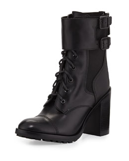 Tory Burch Broome Leather Combat Boot