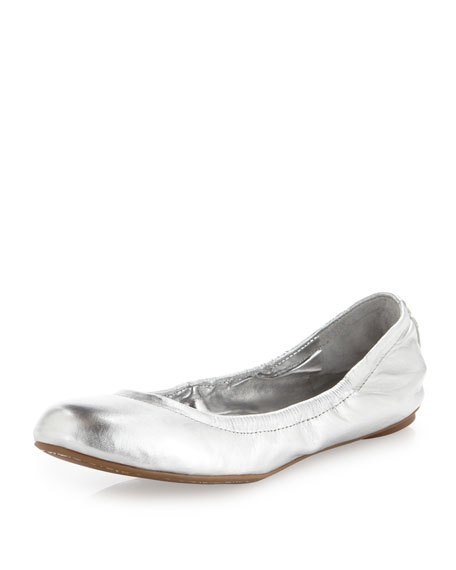 Molly1 Metallic Leather Ballet Flat, Silver
