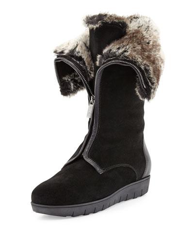 Aquatalia Weslee Faux-Fur Zip Boot, Black