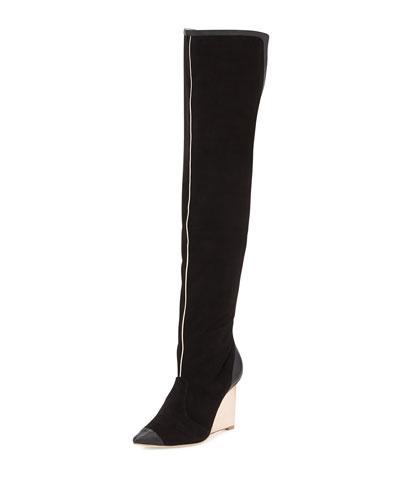 Sophia Webster Hallie Suede Over-the-Knee Boot, Black/Rose Gold