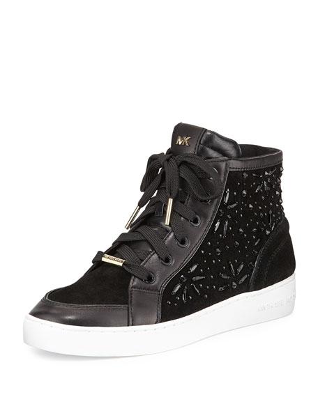 michael michael kors nadine embellished high top sneaker. Black Bedroom Furniture Sets. Home Design Ideas