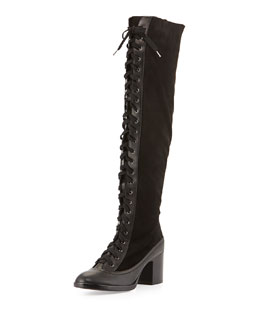 Rag & Bone Action Lace-Up Combo Knee Boot, Black