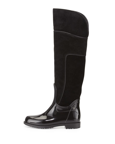 Mayra Over-The-Knee Suede & PVC Boot, Black