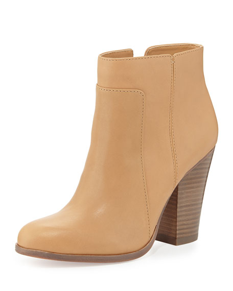Rocker Casual Leather Bootie, Nude