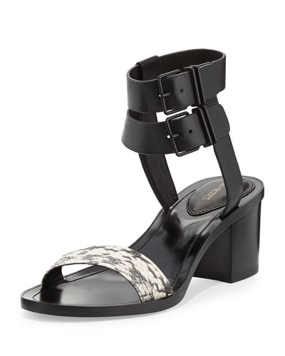 Dagney Double-Wrap City Sandal, Marble