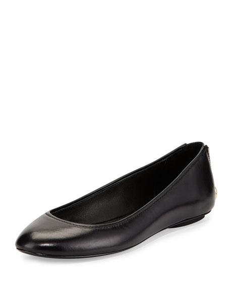 Aliyah Zip-Detail Ballerina Flat, Nero Black