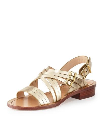 Strappy Metallic Flat Sandal, Platino