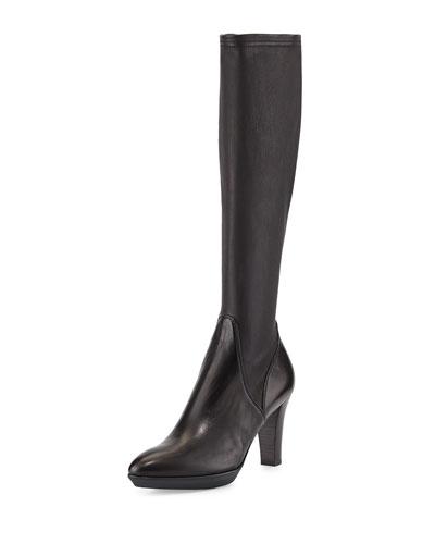 Rhumba Stretch Leather Knee Boot, Black