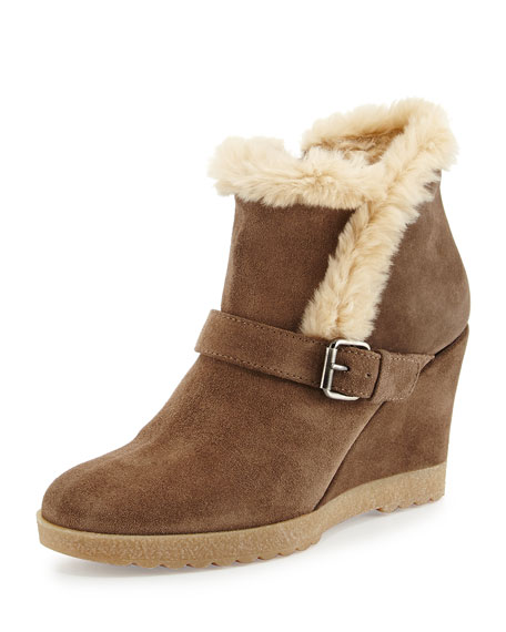 Carlotta Faux-Fur Lined Suede Wedge Ankle Boot, Smog