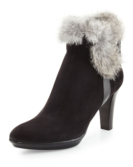 Rebecca Fur Buckle Boot, Black