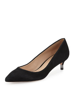 Tory Burch Greenwich Suede Logo-Heel Pump, Black