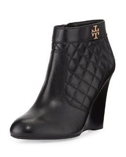 Tory Burch Leila Quilted Wedge Bootie, Black
