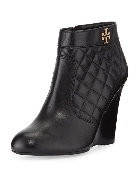 Leila Quilted Wedge Bootie, Black