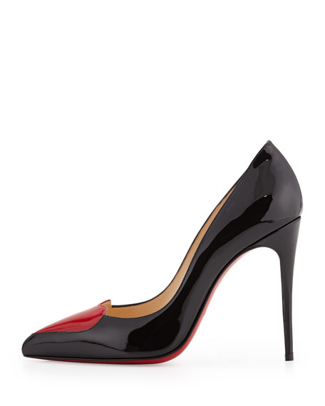 Christian Louboutin Cora Patent Heart Red Sole Pump, Black/Red