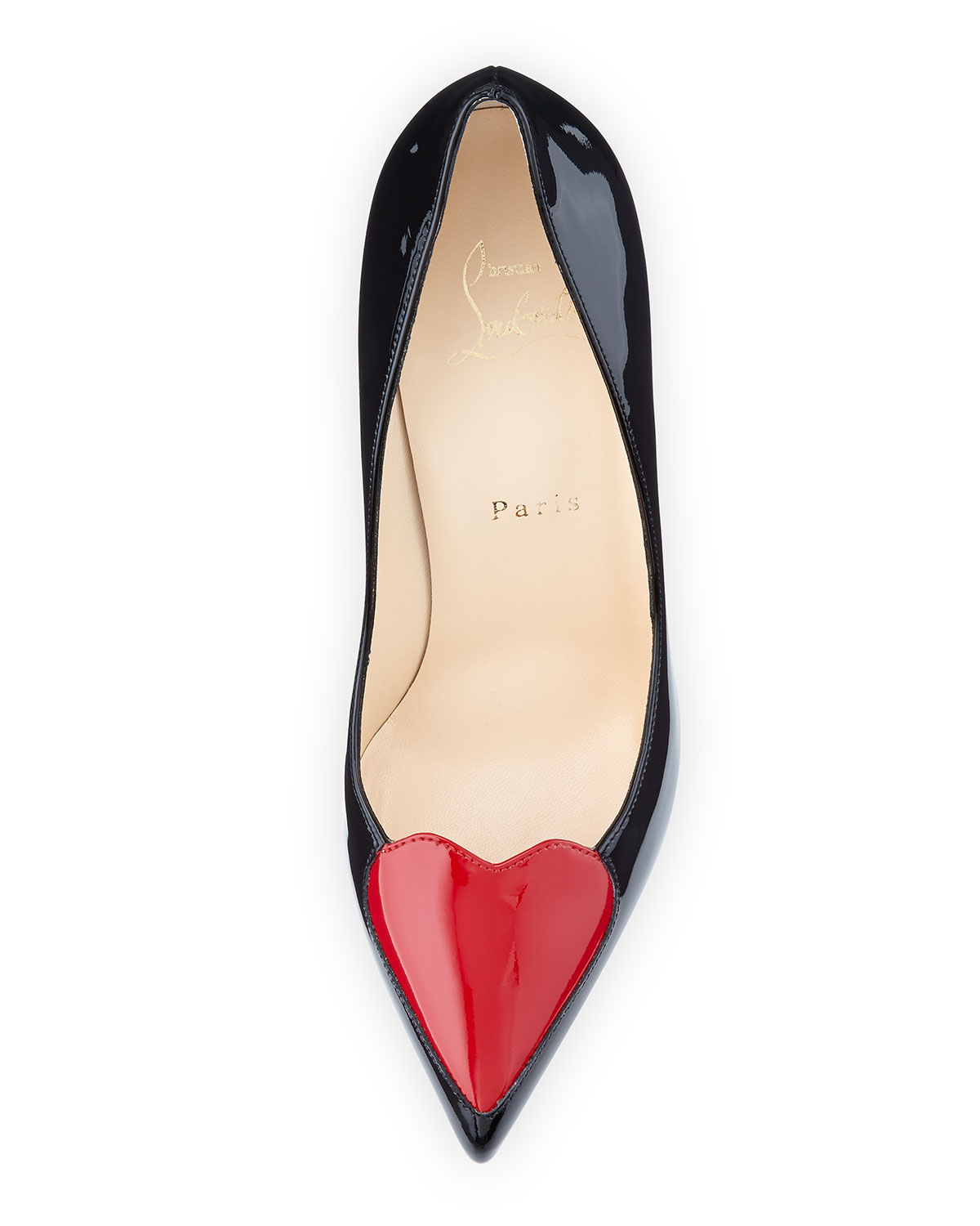 c258aeec99b8 ... order christian louboutin cora patent heart red sole pump black red  neiman marcus fc773 cb06a