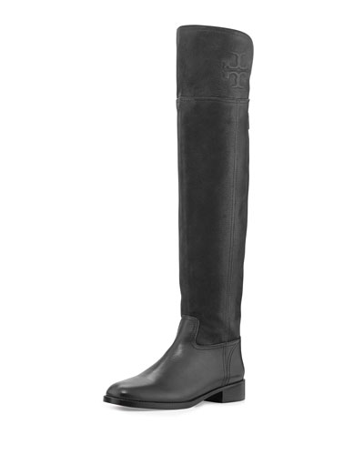 Tory Burch Simone Suede Over-the-Knee Boot, Black