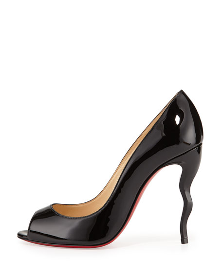 louboutin knock-off - Christian Louboutin Jolly Patent Squiggle-Heel Red Sole Pump, Black