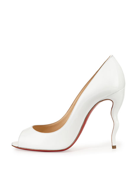 Christian Louboutin Jolly Patent Squiggle-Heel Red Sole Pump, White
