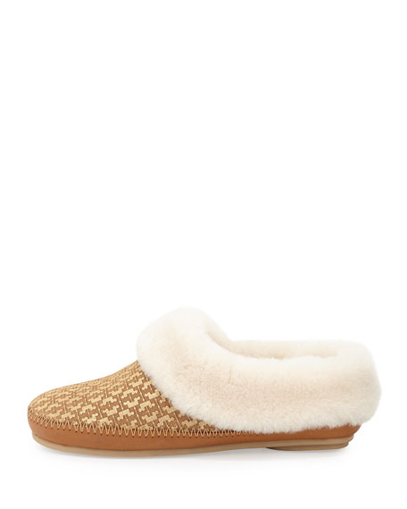 Belding Shearling-Lined Slipper, Gold/Tan