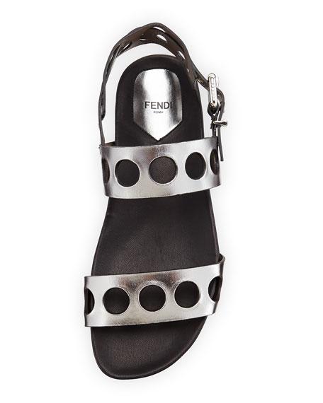 Fendi Metallic Banded Hole-Punch Sandal