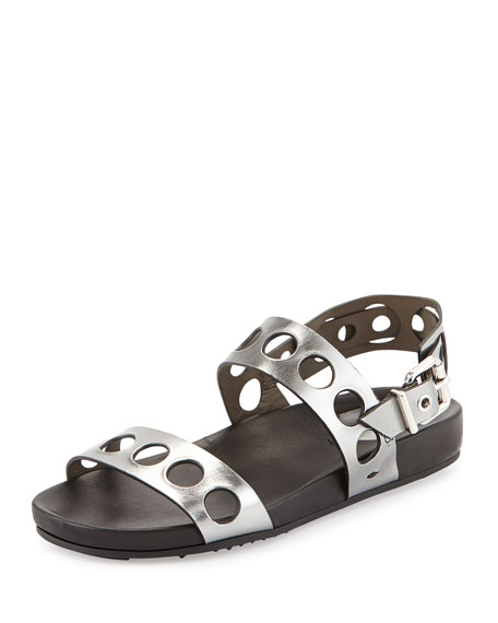 Fendi Metallic Banded Hole-Punch Sandal