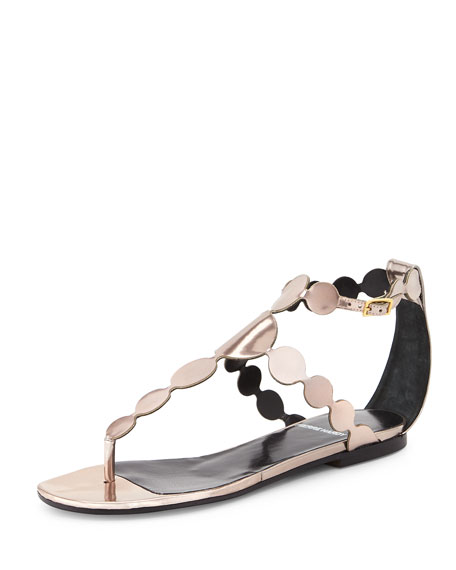 Pierre Hardy Metallic-Circle Leather Sandal, Champagne