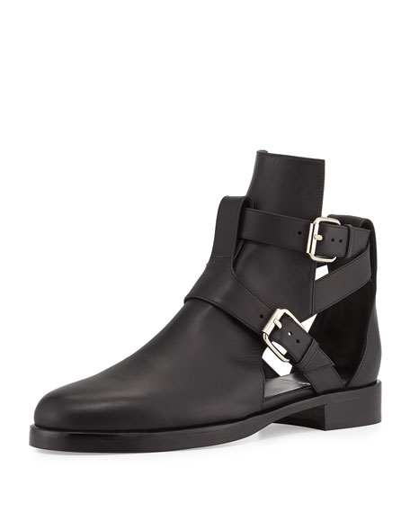 Pierre Hardy Double-Buckle Open Leather Boot, Black