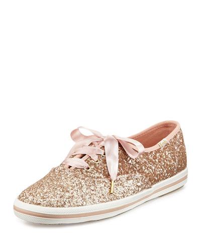 Keds® glitter sneaker, rose gold