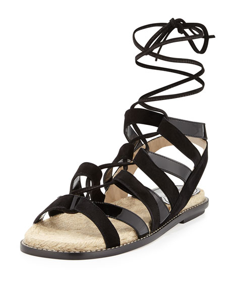 Paul Andrew Suede & Patent Espadrille Sandal, Black