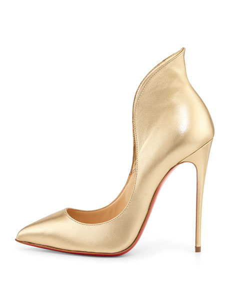 Mea Culpa Metallic Red Sole Pump, Light Gold