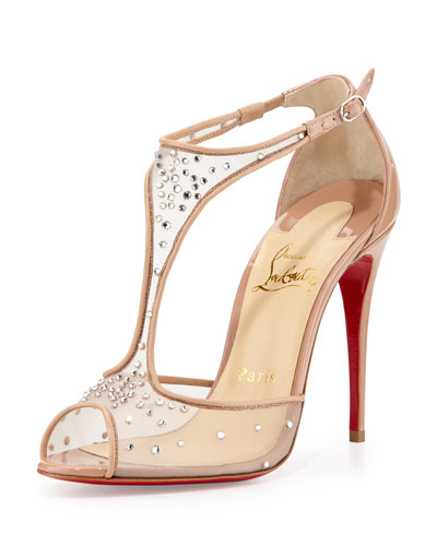 Patinana Strass Red Sole Sandal, Nude