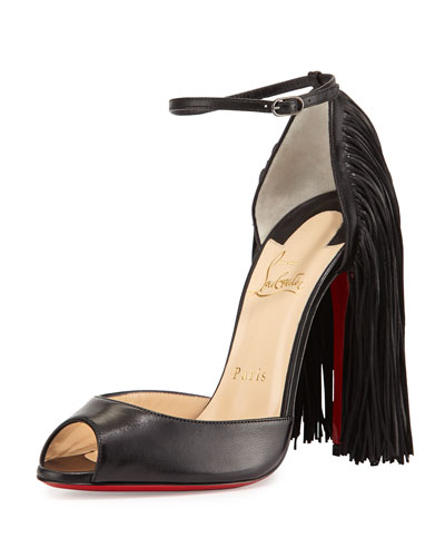Otrot Napa Fringe Red Sole Pump, Black