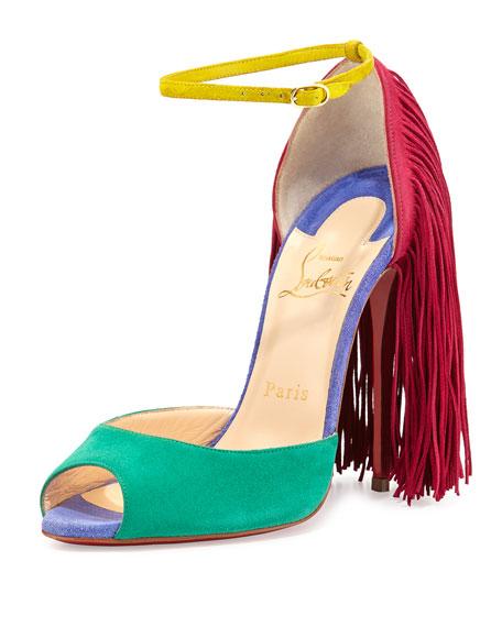 Otrot Suede Sandal with Fringe, Mint/Multi