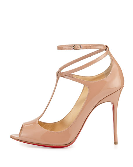 Talitha Patent T-Strap Red Sole Pump, Nude