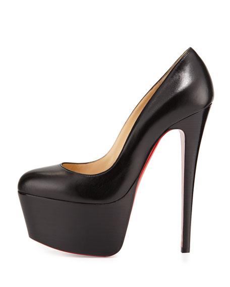 christian louboutin victoria leather platform red sole pump black
