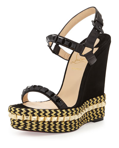 Cataclou Mixed-Media Red Sole Espadrille Sandal