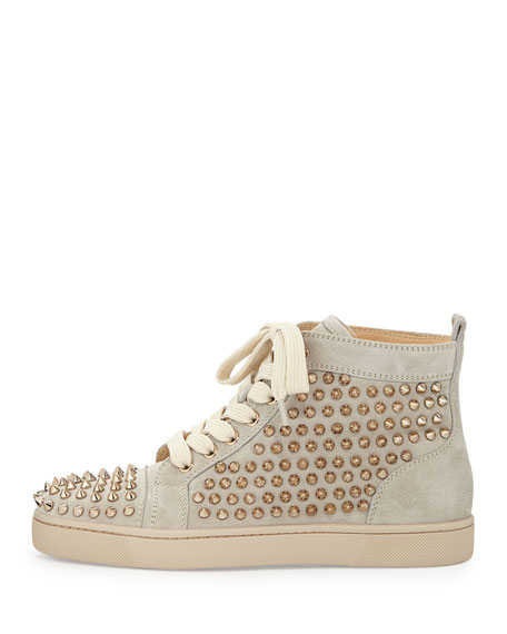 Louis Spiked Suede Sneaker, Colombe