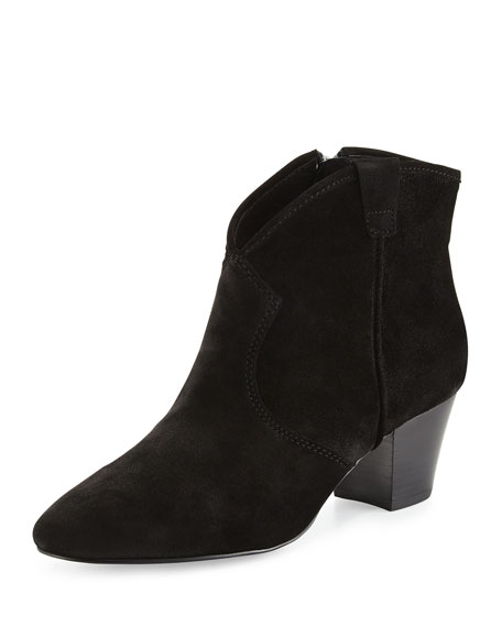 Spiral Suede Ankle Bootie, Black