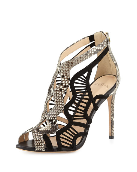 Python & Suede Cutout Sandal, Black/Natural