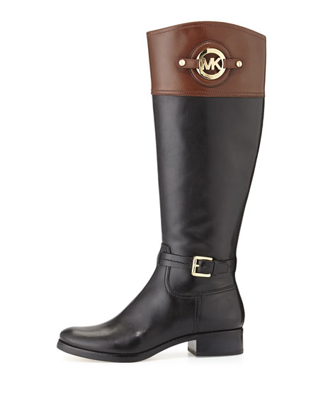 Image 3 of 6: Stockard Two-Tone Leather Riding Boot