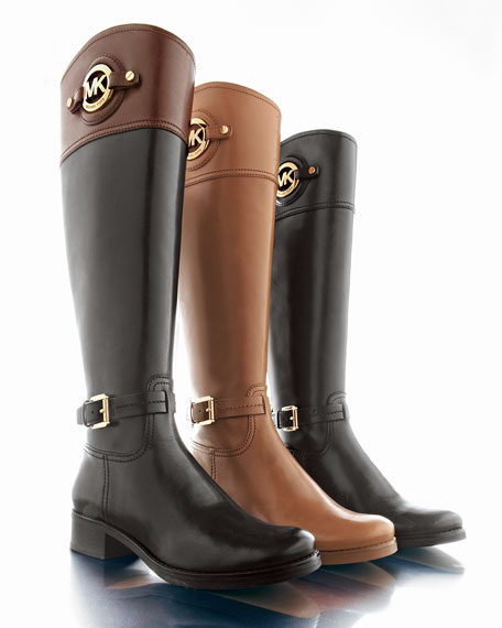Image 2 of 6: Stockard Two-Tone Leather Riding Boot