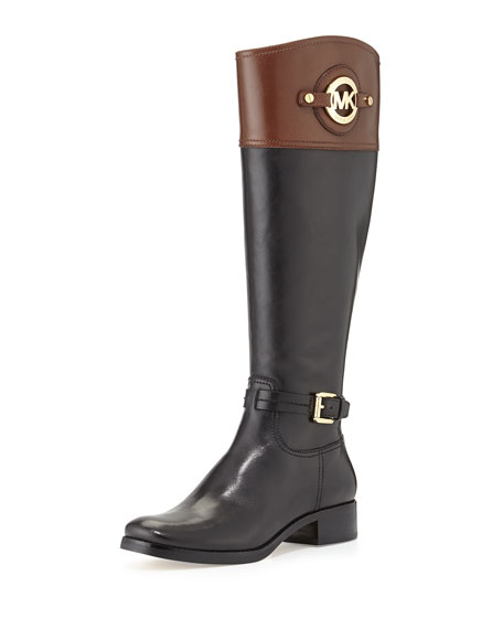 Image 1 of 6: Stockard Two-Tone Leather Riding Boot